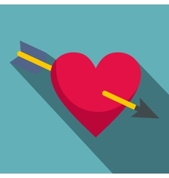 Heart pierced by Cupid arrow icon flat style vector image