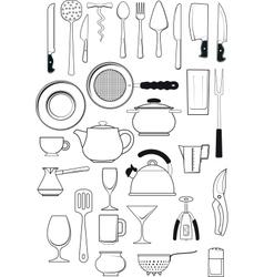 set of kitchen utensils vector image vector image