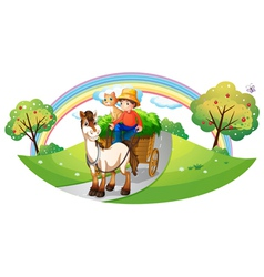 A farmer with his farm pets at the street vector image