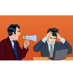 Angry Boss Screaming in Megaphone Pop Art vector image vector image