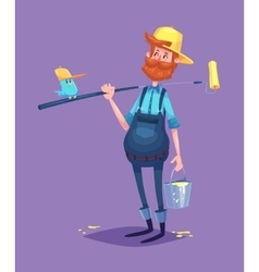 Funny of painter cartoon character vector image