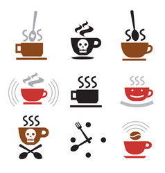 hot coffee funny icons vector image vector image