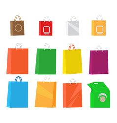 paper packages for shopping collection on white vector image