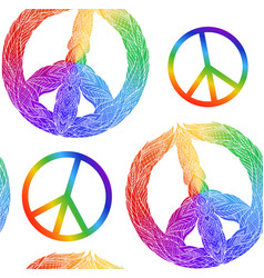 seamless texture with rainbow symbol of peace vector image vector image