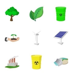 Types of energy icons set cartoon style vector image vector image