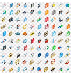 100 hi-fi icons set isometric 3d style vector