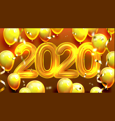 2020 decorated balloons and confetti banner vector