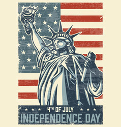 4th of july vintage poster vector image