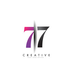 77 7 7 grey and pink number logo with creative vector