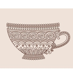 A cup of patterns on light brown background vector