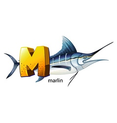 A letter M for marlin vector image