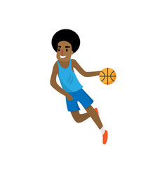 African young basketball player running with red vector