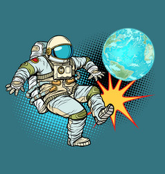 Astronaut plays planet earth football vector