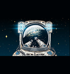 astronaut spaceman soaring astronomical galaxy vector image