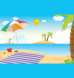 beach and palm vector image