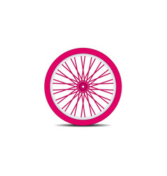 Bicycle wheel in pink design with shadow vector