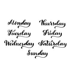 Big calligraphic set days of the week monday vector