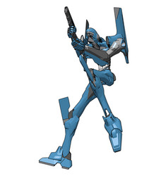 blue robot with gun on white background vector image