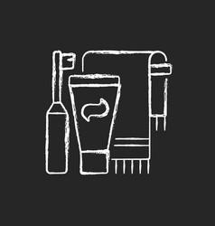 brushing teeth chalk white icon on dark background vector image
