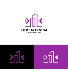 building signal wifi wireless logo line art vector image
