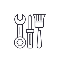 building tools line icon concept building tools vector image