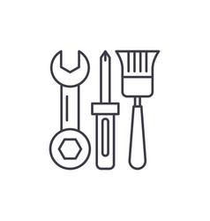 building tools line icon concept building tools vector image