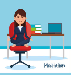 Business people meditation lifestyle in workplace vector