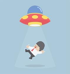 Businessman abducted alien spaceship or ufo vector