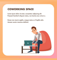 Businessman guy work laptop bean bag chair vector