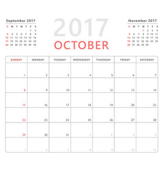 Calendar planner 2017 october week starts sunday vector