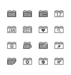 calendar related in glyph icon set vector image