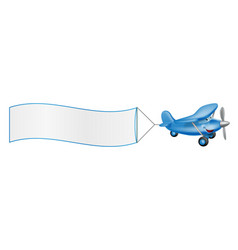 cartoon plane mascot towing banner vector image