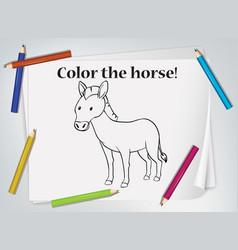 Children horse coloring worksheet vector
