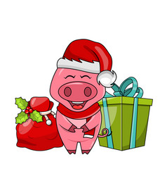 christmas funny pig in santa s hat and scarf vector image