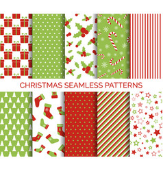 Christmas seamless patterns set vector