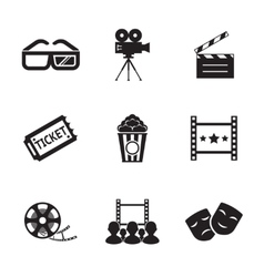 Cinema and Movie icon set modern trendy silhouette vector image