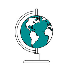 Color silhouette image cartoon earth globe vector