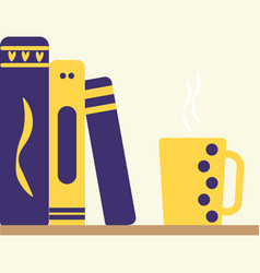 colored line icon of pile of books and tea vector image