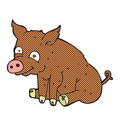Comic cartoon happy pig vector