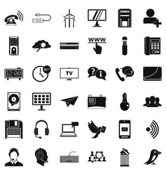 Communication icons set simple style vector
