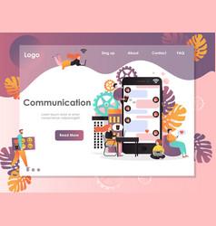 Communication website landing page design vector