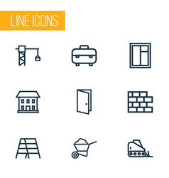 construction icons line style set with equipment vector image