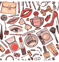 cosmetics for makeup seamless pattern vector image