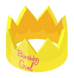 Crown birthday icon isometric 3d style vector