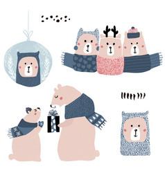 Cute cartoon bear winter collection christmas vector