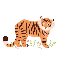 cute cartoon tiger isolated on white background vector image