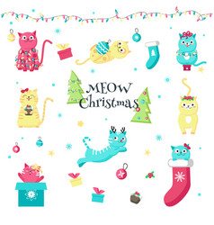 cute funny christmas cats isolated vector image