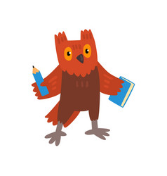 cute owl bird cartoon character with pencil and vector image