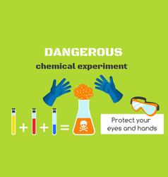 Dangerous chemical experiment concept banner flat vector