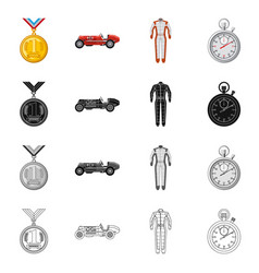 Design of car and rally icon set of car vector